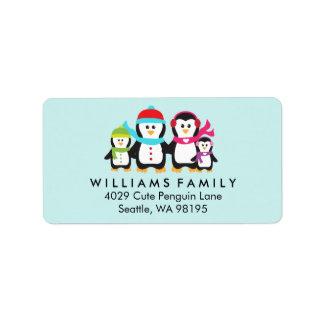 Penguin Birds Family Christmas Winter Holiday Label