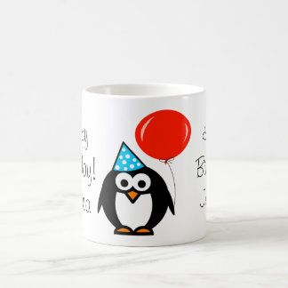 Penguin Birthday mug with red balloon and name