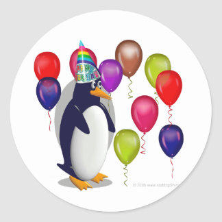 Penguin  Birthday Party Classic Round Sticker