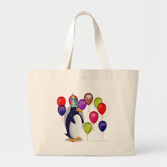 Penguin  Birthday Party Large Tote Bag