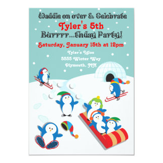 Penguin birthday party winter fun invitation
