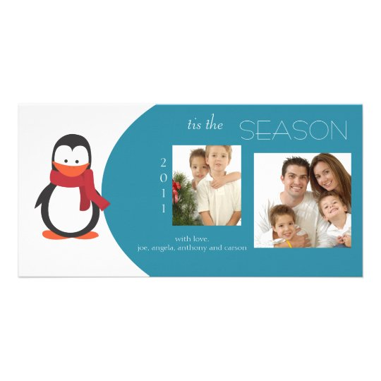 Penguin Blue Holiday Photo Card