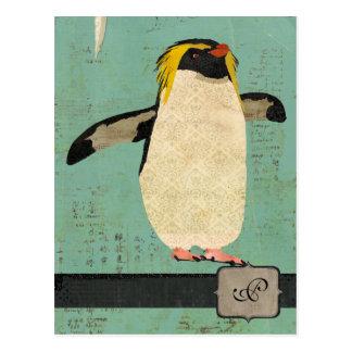 Penguin Blue Lagoon Monogram Postcard