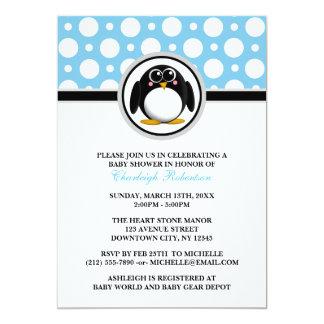 "Penguin Blue Polka Dot Baby Shower Invitations 5"" X 7"" Invitation Card"