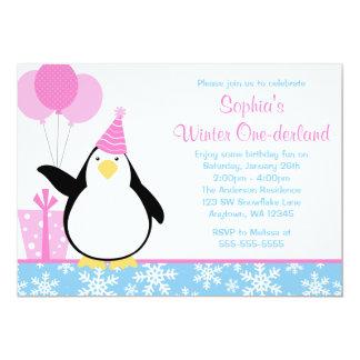 Penguin Blue Snowflakes Winter Onederland Birthday 5x7 Paper Invitation Card