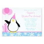 "Penguin Blue Snowflakes Winter Onederland Birthday 5"" X 7"" Invitation Card"