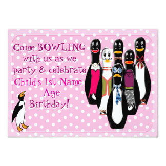 Penguin Bowling Birthday Party Pink (Personalized) Invites