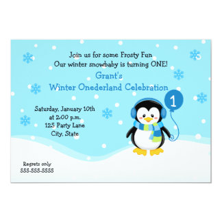 Penguin Boy Birthday Invitation