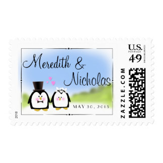 Penguin bride and groom postage stamps