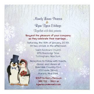 Penguin Bride and Groom Wedding Invitation Square