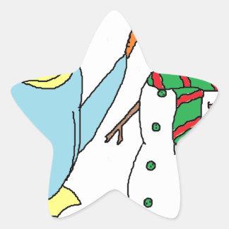 Penguin Building A Snowman Star Sticker