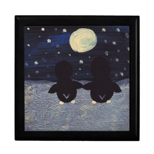 Penguin By Moon Light Jewelry Box