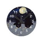 Penguin By Moon Light Round Clock