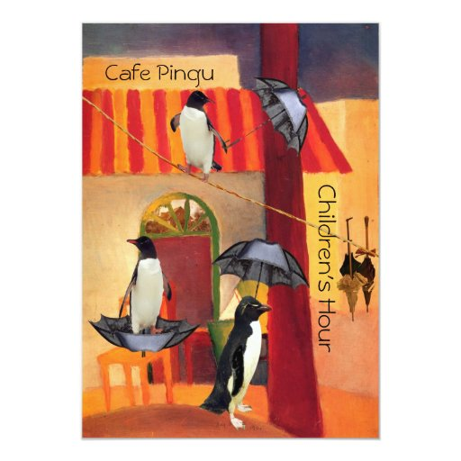 Penguin Cafe 5x7 Paper Invitation Card