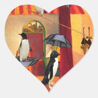 Penguin Cafe Heart Sticker