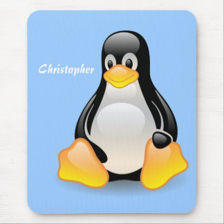 Penguin cartoon custom, personalized boys name mouse pad