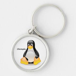 Penguin cartoon personalized custom boys name key chain