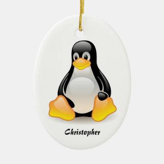 Penguin cartoon personalized custom boys name christmas tree ornament