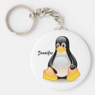 Penguin cartoon personalized custom girls name keychains