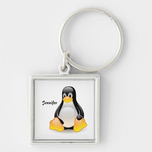 Penguin cartoon personalized custom girls name key chains