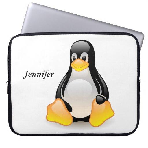 Penguin cartoon personalized custom girls name laptop sleeves