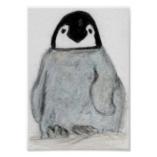 PENGUIN CHICK ART POSTER CUTE ! BIRTHDAY CHRISTMAS