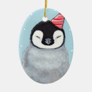 Penguin Chick in a Party Hat Ceramic Ornament