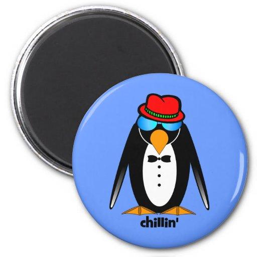 penguin chillin' 2 inch round magnet