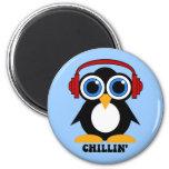 penguin chillin 2 inch round magnet