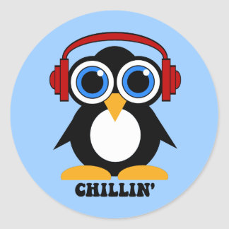 penguin chillin classic round sticker