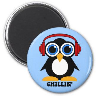 penguin chillin fridge magnet