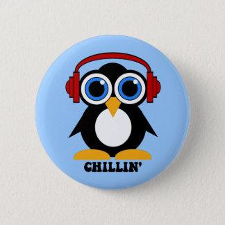 penguin chillin pinback button