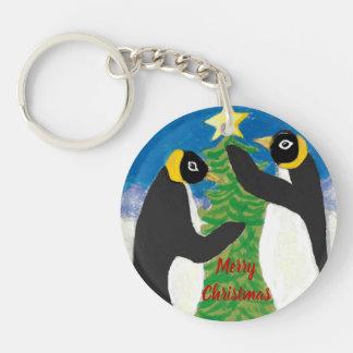 Penguin Christmas Circle double-sided Keychain