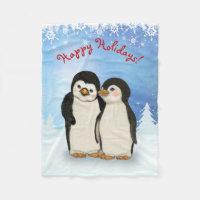 Penguin Christmas Fleece Blanket