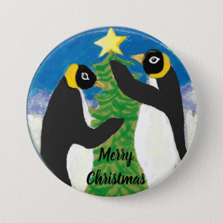 Penguin Christmas Large, 3 Inch Round Button