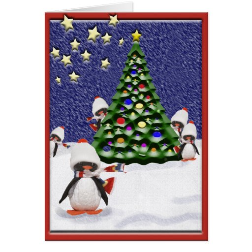 Penguin christmas paradise card zazzle for Penguin christmas cards homemade