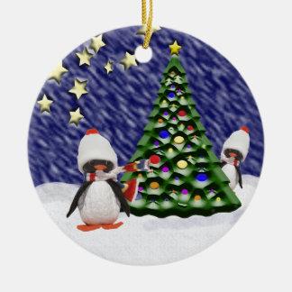 Penguin Christmas Paradise Double-Sided Ceramic Round Christmas Ornament