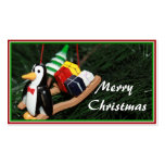 Penguin & Christmas Sled Ornament (1) Double-Sided Standard Business Cards (Pack Of 100)