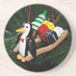 Penguin & Christmas Sled Ornament (1) Coasters