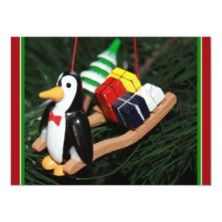 "Penguin & Christmas Sled Ornament (1) 6.5"" X 8.75"" Invitation Card"