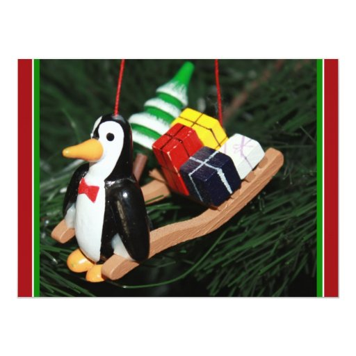 Penguin & Christmas Sled Ornament (1) 6.5x8.75 Paper Invitation Card