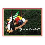 Penguin & Christmas Sled Ornament (1) 5x7 Paper Invitation Card