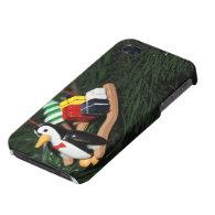 Penguin & Christmas Sled Ornament (1) iPhone 4 Case