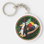 Penguin & Christmas Sled Ornament (1) Keychains