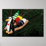 Penguin & Christmas Sled Ornament (1) Print