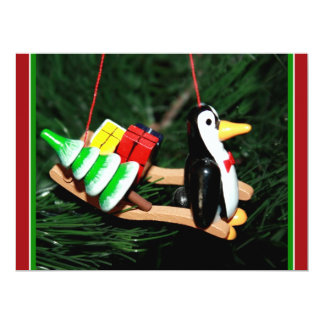 "Penguin & Christmas Sled Ornament (2) 6.5"" X 8.75"" Invitation Card"