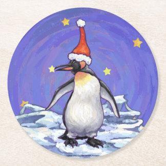 Penguin Christmas Round Paper Coaster