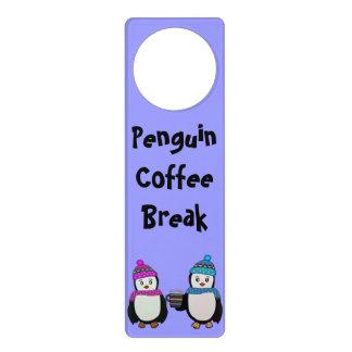 Penguin Coffee Break Custom Door Hanger
