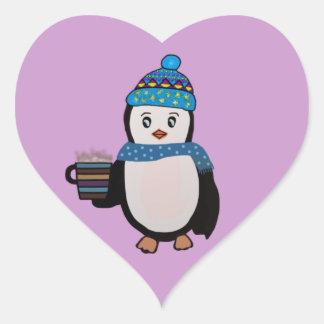Penguin Coffee Break Heart Sticker