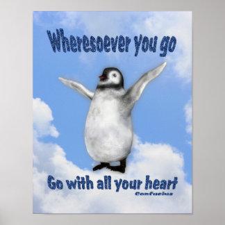 Penguin Confucius Attitude Quote Inspirational Pos Print